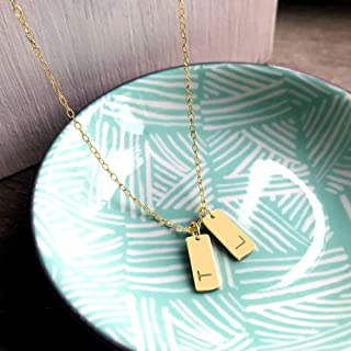 Personalised Gold Double Tags Necklace, initials necklace, mini bars necklace, layering necklace, personalised gift, birth...