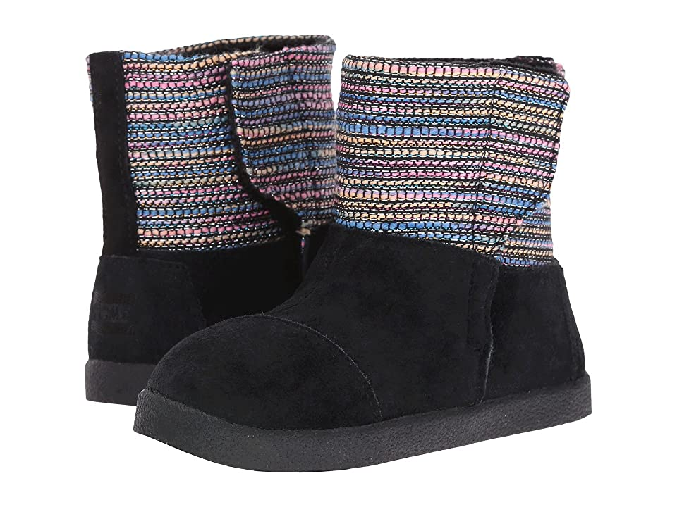 TOMS Kids Nepal Boot (Infant/Toddler/Little Kid) (Black Metallic Woven/Suede) Girls Shoes