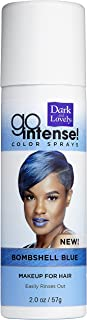 Temporary Hair Color by SoftSheen-Carson Dark and Lovely, Go Intense Color Sprays, Hair Color Spray for Instant and Ultra-vibrant Color even on Dark Hair, For Natural and Relaxed Hair, Blue Bombshell