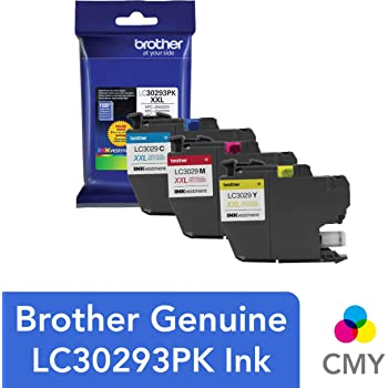 Brother LC3029 Color C/M/Y Ink Cartridges (LC30293PKS), Super High Yield, 3/Pack,Cyan/magenta/yellow