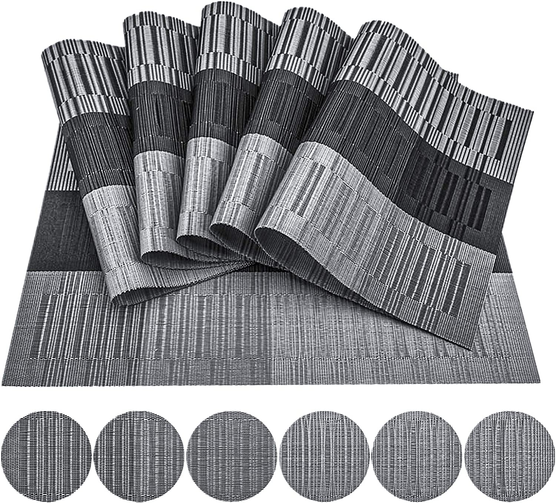 Manteles Individuales,Lavables Salvamanteles Individuales 6Pack Lavavajillas Antideslizante Decorativos Manteles Fácil de Limpiar 45 x 30cm(Negro-Gris)