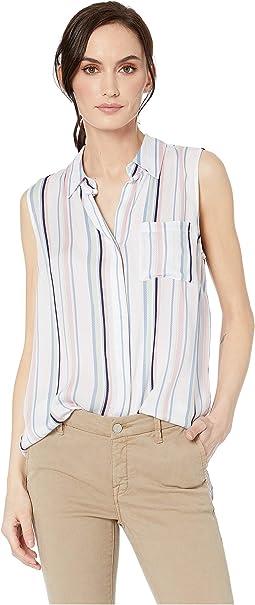 Printed Woven Chevron Sleeveless Shirt