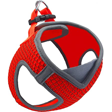 Kruz PET KZA308 Reflective V-Neck Step In Mesh Dog Harness - No Pull, Easy Walk, Quick Fit, Comfortable, Velcro-Adjustable Pet Harnesses for Walking & Training - Small, Medium Dogs