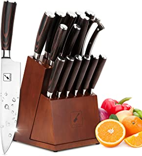 ست چاقوی آشپزخانه ، مجموعه چاقو 16 قطعه imarku با بلوک چاقوی استیک متحرک ، ست چاقو ضد زنگ چند منظوره با تراش دستی