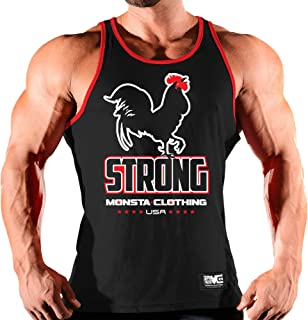 Monsta Clothing Co. Men's Workout (ES: Rooster Strong) Gym Tank Top (A:WT/RD)