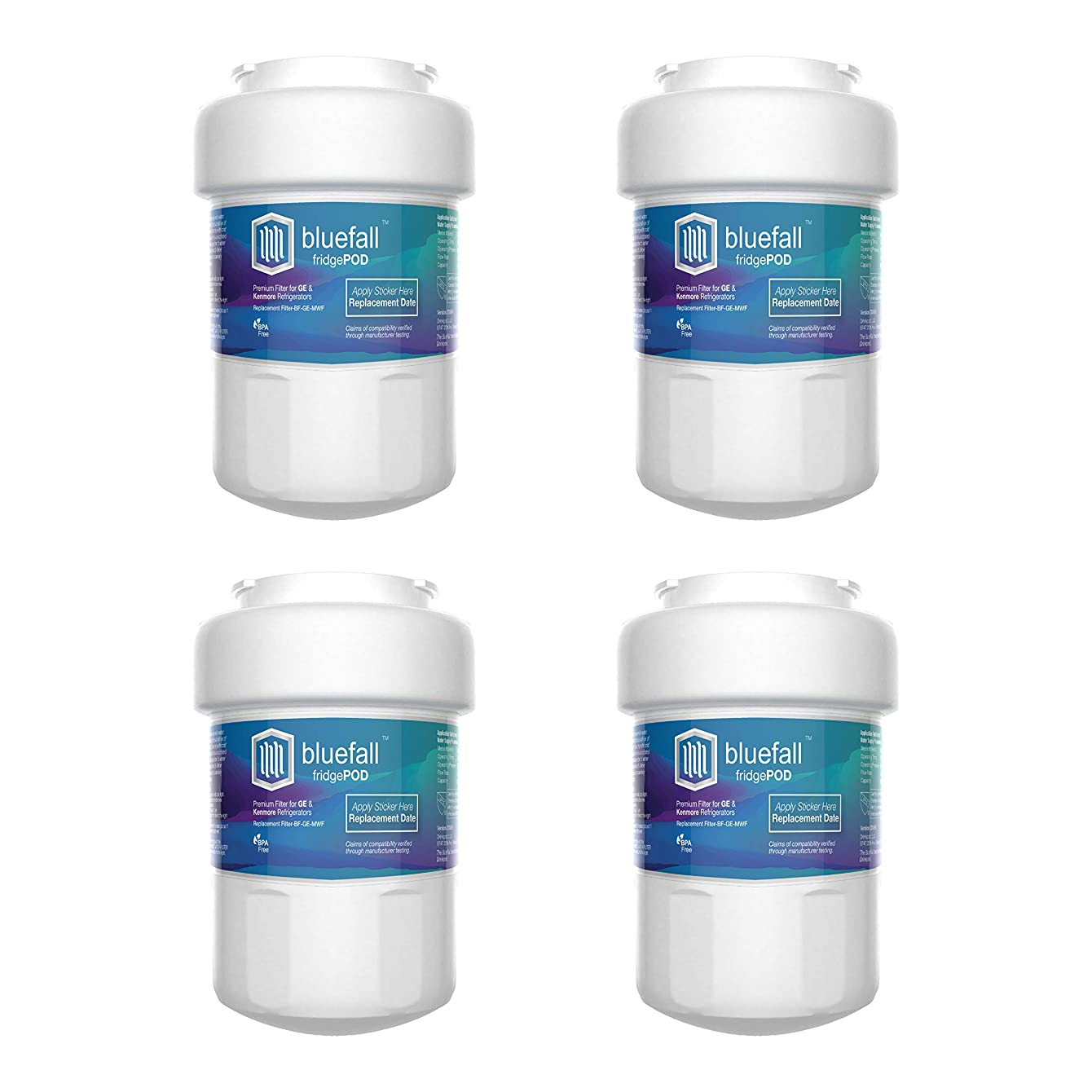 GE Refrigerator Water Filter for GE MWF Replacement Refrigerator Water Filter. Compatible by Bluefall - Value Pack of 4