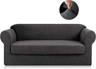 SyMax Polyester Fabric Sofa Covers Seat 2 Pieces Jacquard Chair Slipcovers Couch Pet Furniture Protector for Reclining(Loveseat, Grey)
