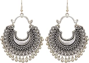 Shreyadzines Designer Afghani Bohemian Tribal Oxidized Dangle Earrings for Women and Girls