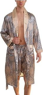 Men's Summer Luxurious Kimono Soft Satin Robe Long-Sleeve Nightgown Printed Pajamas Bathrobes
