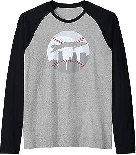 Minneapolis Minnesota Squirrel Silhouette Raglan Baseball Tee