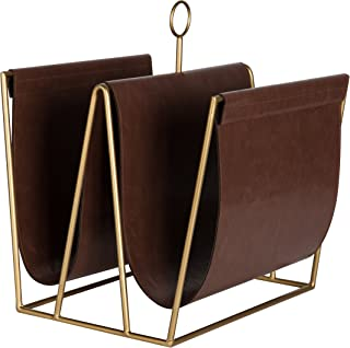 Kate and Laurel Alton Metal and Faux Leather Magazine File Holder, Brown and Gold