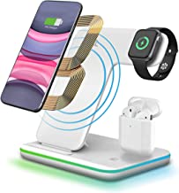 3 in 1 Wireless Charger Stand,CNSL Wireless 15W QI Fast Charging Station,Watch & Earphones Charger Dock with LED Light,Compatible with Airpods iWatch 1/2/3/4,iPhone 8/X/XR,Samsung S10/S9,etc.(White)