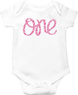 1st Birthday Onesie Girl Glitter Bodysuit Rose Gold, Pink, Purple, Red, Silver for Baby Girl 1st Birthday