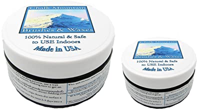 Chalk Mountain Brushes 2 Pack 8 oz. Clear and 4 oz. Furniture Finishing 100% Natural Wax Kit. Beautifys and Protects Painted and Unfinished Wood. Made in USA.