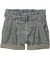 Belted Cotton Paperbag Shorts (Little Kids)