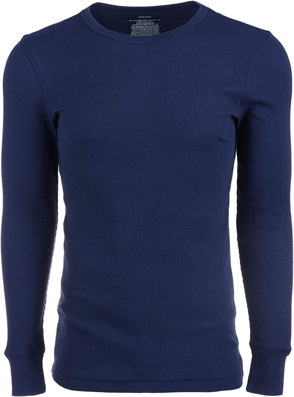 Alfani Mens Underwear Navy Medium Crewneck Waffle Knit Thermal Blue M