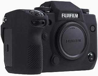 Foluu FUJIFILM X-H1 保護ケース シリコンカバー 耐衝撃 防塵 滑り止め 富士フイルムX-H1 用 ソフトケース (FUJIFILM X-H1, 黒)