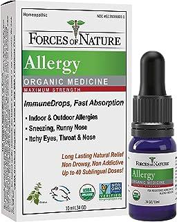 Forces of Nature - Natural Organic Allergy Maximum Strength Medicine (10ml) Non Drowsy, Non Addictive, Non GMO -Fight Indo...
