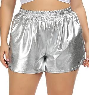 Hanna Nikole Metallic Shorts Woman Plus Size Yoga Gym Elastic Waist Shiny Pants
