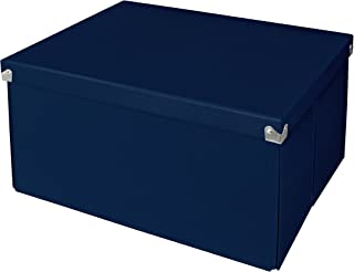 """Pop n' Store Decorative Storage Box with Lid, Collapsible and Stackable, Large Mega Box, Interior Size (9.75""""x9.75""""x5.75""""), Navy"""
