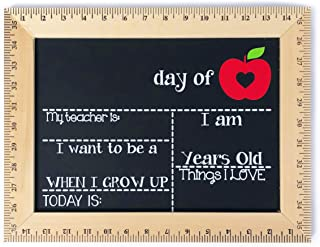 First Day of School Chalkboard, Reusable Sign Board with Real Wooden Ruler Frame, Apple with Heart, Handmade in USA