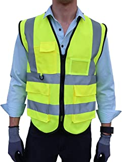 """High Visibility Safety Vest with Pockets, Reflective Strips, and Zipper (Yellow) (40"""" Chest)"""