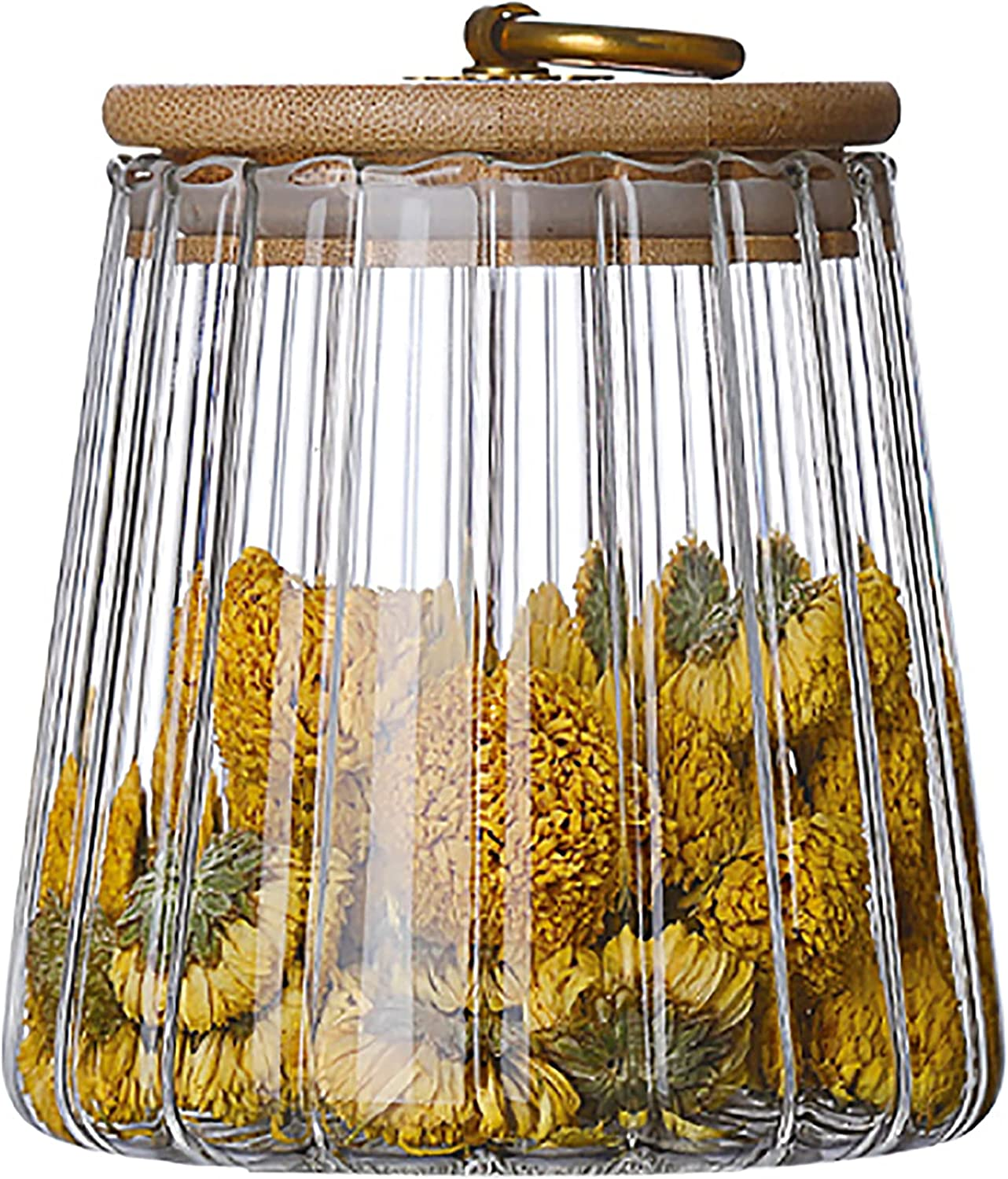 Glass Coffee Nuts Canister Airtight Storage Jar Petal Decorative Container with Bamboo Lid Metal Handle Easy to Grasp 700ml (23oz) (Style 2)