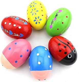 HAZOULEN Set of 6 Wooden Percussion Musical Egg Maracas Egg Shakers
