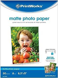 "Printworks Matte Photo Paper for Inkjet Printers, Printable on Both Sides, 8 mil, 30 Sheets, 8.5"" x 11"" (00548), White"