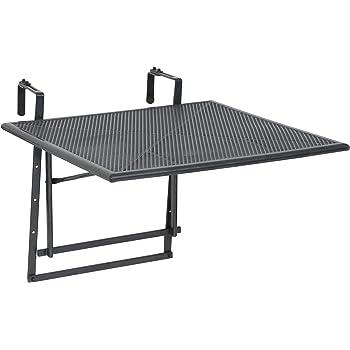 Tavolo da balcone pieghevole in metallo grigio, 88 cm