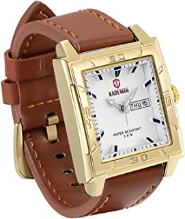 JewelryWe Classic Men's Japan Analog Quartz Square Wrist Watch Business Casual Leather Dress Band Sport Watches Waterproof