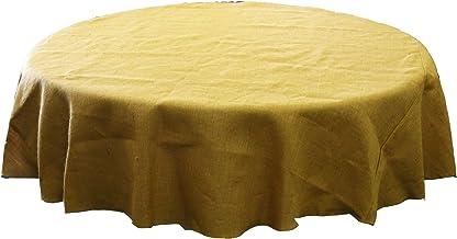LA Linen Natural Burlap Tablecloth, Round, 90-Inch