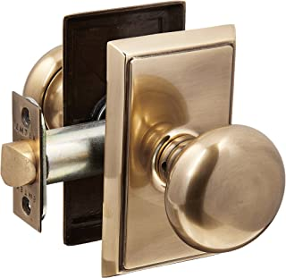 Providence Door Set with Round Brass Knobs Privacy in Antique Brass. Doorsets.