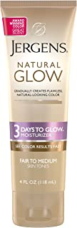 Jergens Natural Glow 3-Day Sunless Tanning Lotion, Self Tanner, Fair to Medium Skin Tone, 4 Ounce Sunless Tanning Daily Mo...
