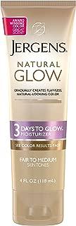 Jergens Natural Glow 3 Days to Glow Moisturizer for Body, Fair to Medium Skin Tones, 4 Ounces
