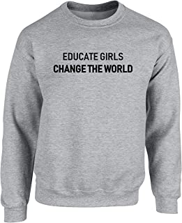 Hippowarehouse Educate Girls Change The World (Centred Slogan) Unisex Jumper Sweatshirt Pullover (Specific Size Guide in D...