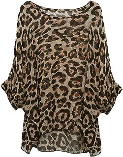 Women Chiffon Blouse Floral Batwing Sleeve Beach Loose Tunic Shirt Tops