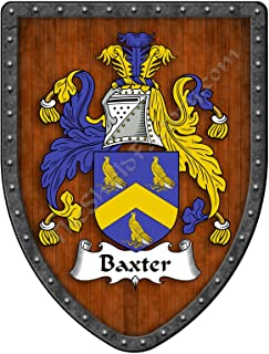 Baxter Family Crest Custom Coat of Arms, Family Ancestry and Heritage Hanging Metal Wall Plaque Shield - Hand Made in the USA