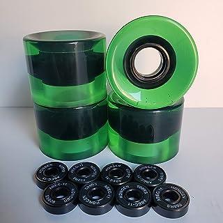 k's factory スケートボード ウィール ベアリングABEC11 セット スケボー ソフトウィール60×45 透明グリーン 緑