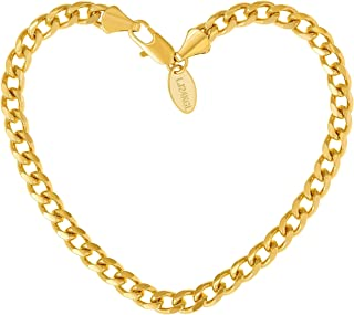 Gold Bracelets for Women and Men [ 5mm Cuban Link Bracelet ] Up to 20X More 24k Gold Plating Than Other Wrist Bracelets with Free Lifetime Replacement Guarantee 7 8 and 9 Inches