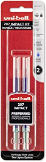 uni-ball 207 Impact Retractable Gel Pen Refills, Bold Point (1.0mm), Blue, 2 Count