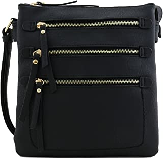 Large Double Compartment Triple Front Pocket Zippers Crossbody Bag