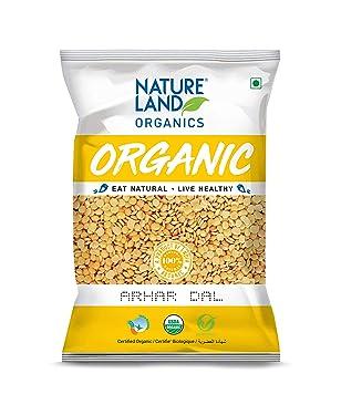 Natureland Organics Arhar / Toor Dal 1 Kg - Organic Healthy Pulses