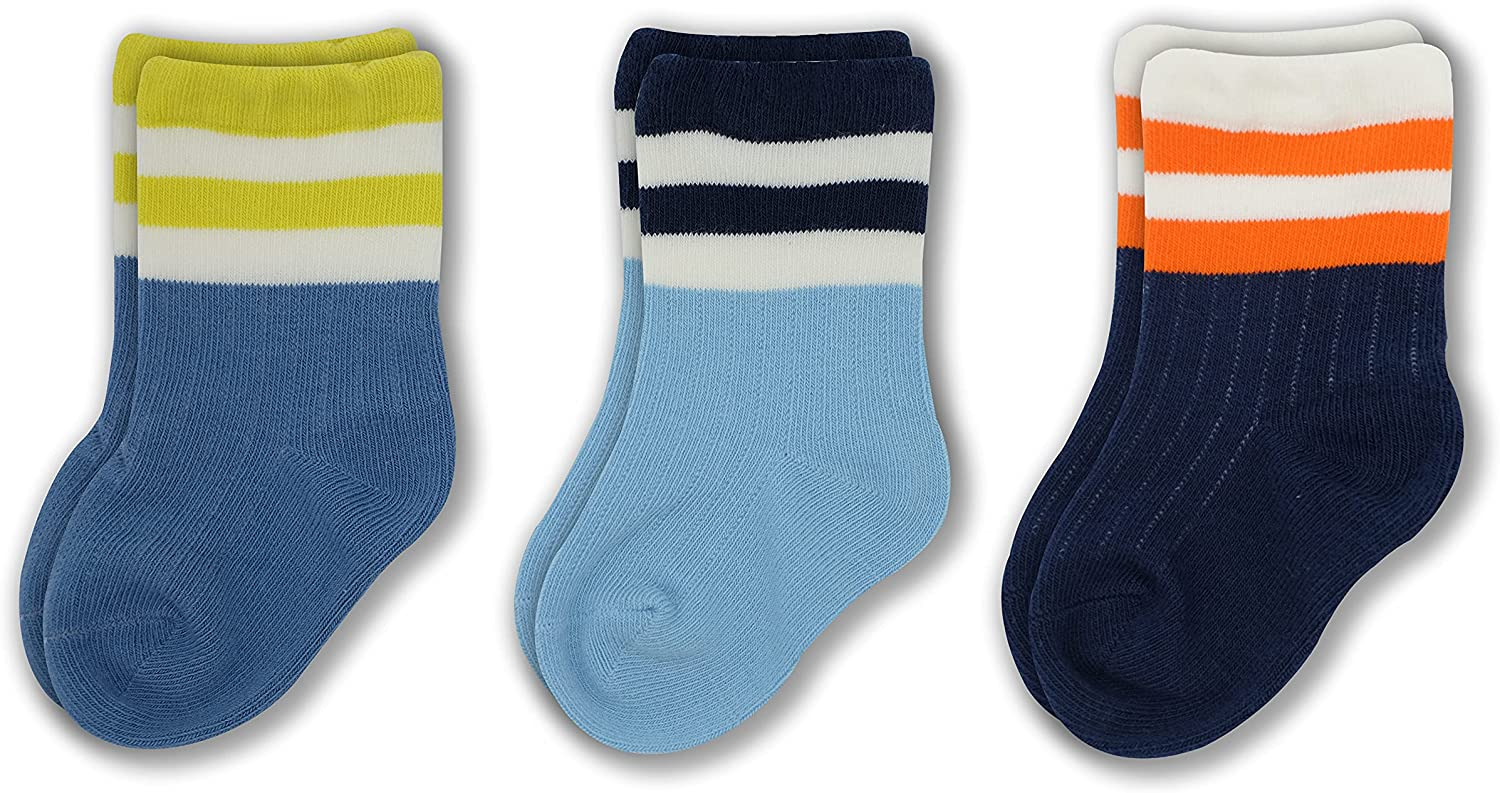 Hsshzzc Unisex-Baby's Combed Cotton Socks 6-12 Months Includes 3 Pairs of socks