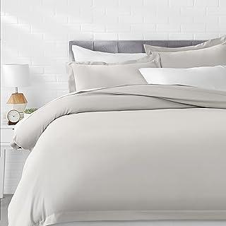 AmazonBasics Microfiber 3-Piece Quilt/Duvet/Comforter Cover Set - King, Light Grey - with 2 pillow covers