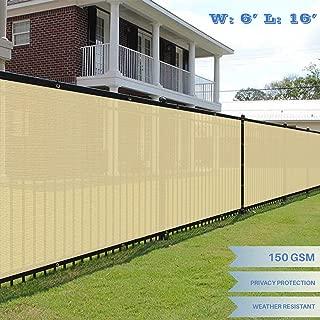 E&K Sunrise 6' x 16' Beige Fence Privacy Screen, Commercial Outdoor Backyard Shade Windscreen Mesh Fabric 3 Years Warranty (Customized Set of 1