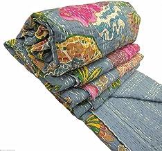 V Vedant Designs القطن الهندي كانثا لحاف رمي بطانية رمي خمر رمي Gudari القطن اليدوية كانثا لحاف (فاكهة رمادية)