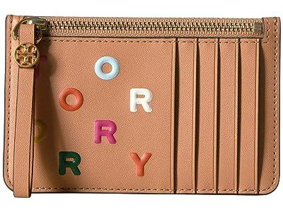 Tory Burch Letters Printed Slim Card Case (Dark Vachetta) Wallet Handbags