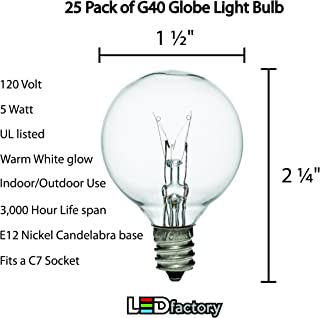 (25 Pack) String Socket Bulb [G40, E-12]-[