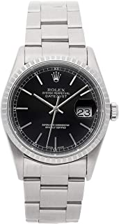 Rolex Datejust Mechanical (Automatic) Black Dial Mens Watch 16220 (Certified Pre-Owned)